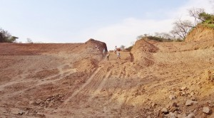 Water harvesting dam being constructed at Kadiyani
