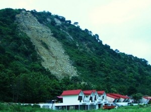 Eroded hill side behind Tikkar tal resort- the challenge of sharp slope