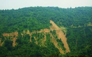 Heavy erosion along Dhaman-Thapli road, Tipra-Morni hills