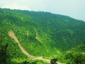 Eroded hill slope near Chhamla, Morni foothills