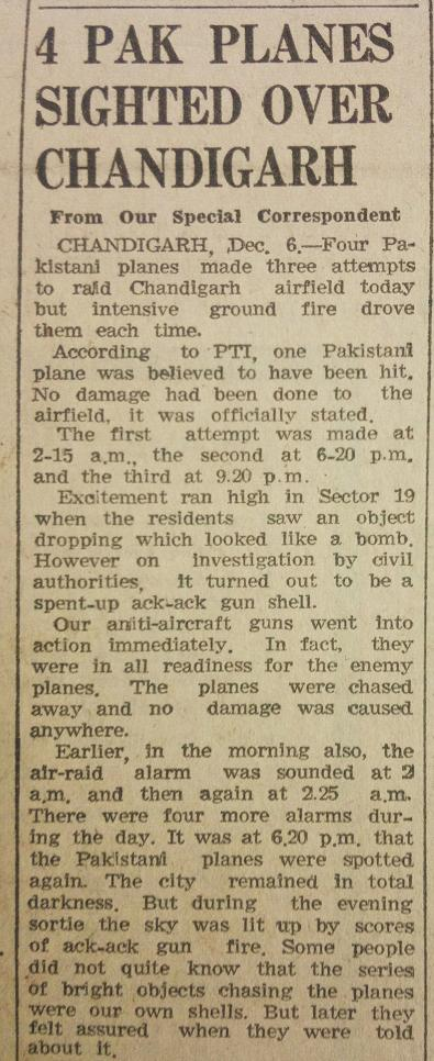4 Pak Planes Sighted Over Chandigarh, The Tribune, 7th December, 1971