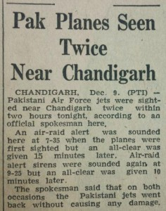Pak Planes Seen Twice Near Chandigarh, The Tribune, 10th December, 1971