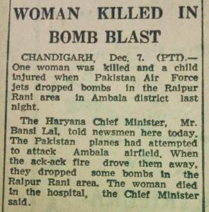 Woman Killed in Bomb Blast, The Tribune, 8th December, 1971