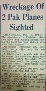 Wreckage of Two Pak Planes Sighted, The Tribune, 8th December, 1971
