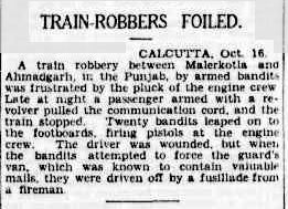 Ahmedgarh Train Robbery- The Sydney Morning Herald (Friday 18 October 1929)