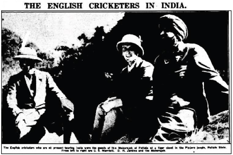 English cricketers on tiger-shoot in Pinjore Jungles (West Australian, Perth, 11 January 1934)