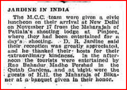 Jardine in India, Referee, Sydney 4th January, 1934