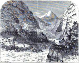 Crossing Sutluj by Jula Rope Bridge, Chegaon - Sketch by CF Gordon-Cumming 1867