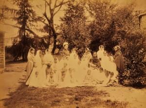 Mary Budden with orphanage girls, Almora, Uttar Pradesh, India, ca. 1880-1890