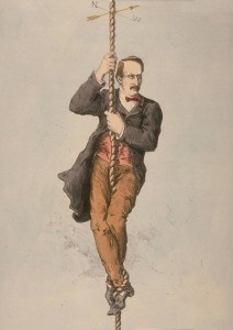 Sir John Strachey, Lt. Governor of NW Provinces, a cartoon appearing in Indian Charivari Album (1875)